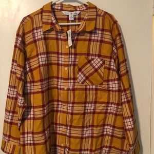 Old Navy 2X mustard plaid flannel shirt